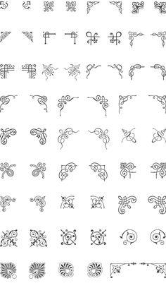 236x408 Corner Flourish Swirls, Border Calligraphy, Decorative