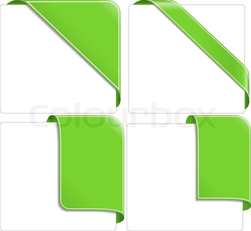 800x736 Green Corner Ribbons Stock Vector Colourbox