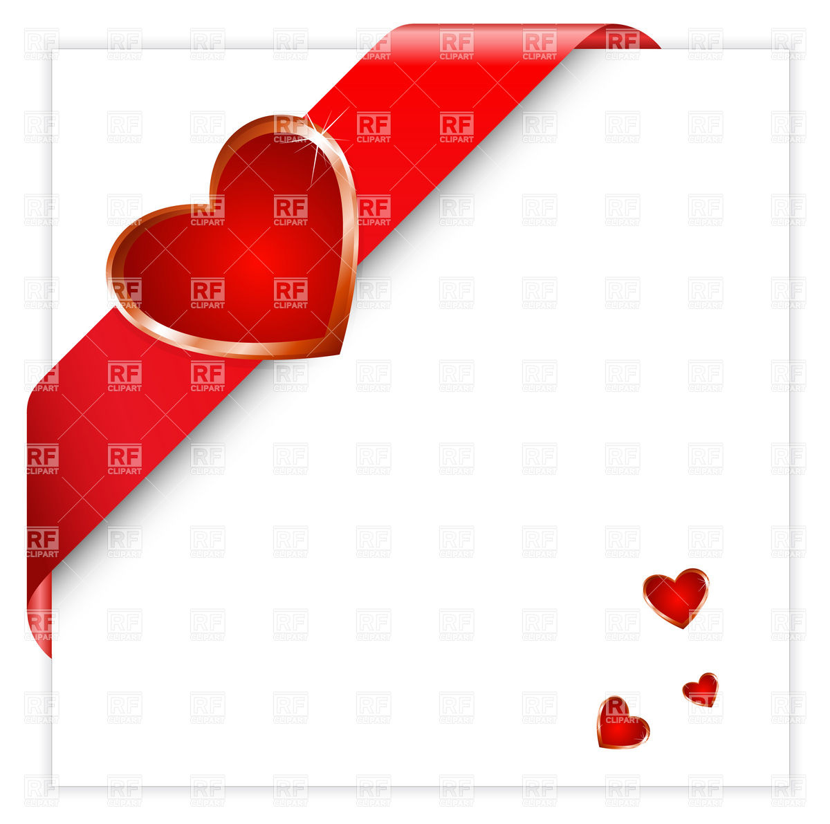 1200x1192 Valentine Red Corner Ribbon With Heart Vector Image Vector