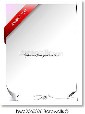 285x382 Art Print Of Blank Letter With Corner Ribbon. Vector Illustration