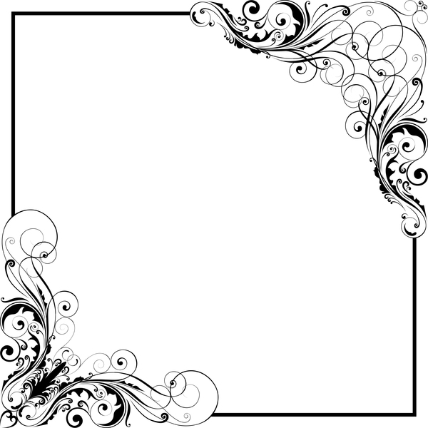 600x600 Corner Floral Swirl Ornaments With Frame Vector Free Download