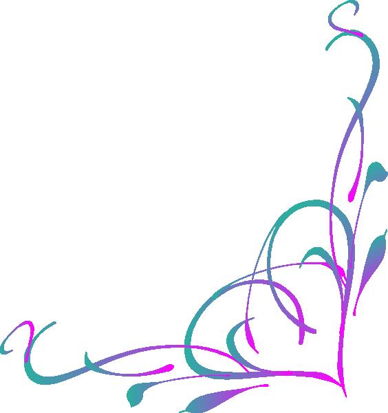 564x600 Purple Swirl Corner Borders Clip Art