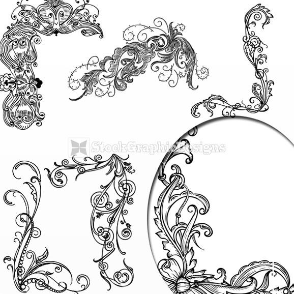 578x578 Vector Swirl Ornamental Floral Corners Design Elements