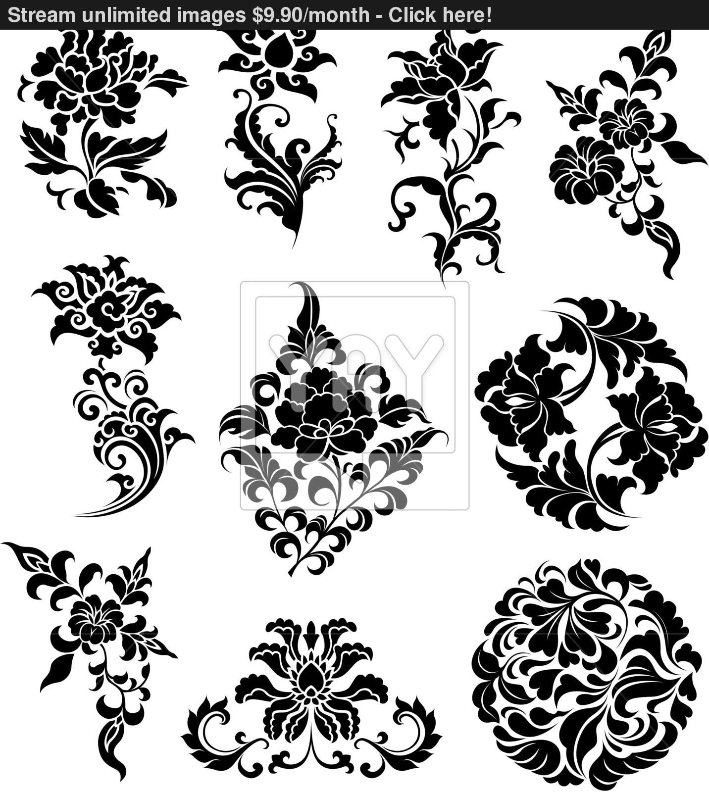1432x1600 Swirl Corner Pattern Design Vector