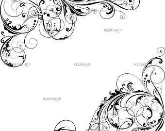 340x270 Corner Swirl Ornamental Floral Abstract Designwall Decor Etsy