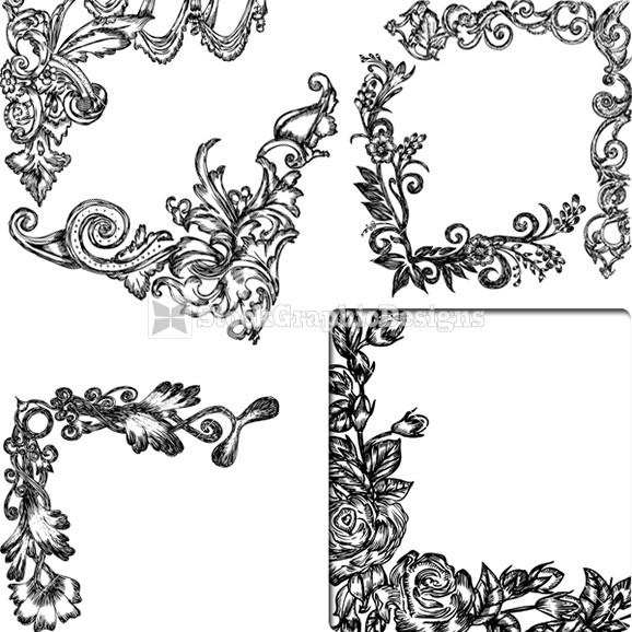 578x578 Hand Drawn Decorative Floral Corner Vector Illustration