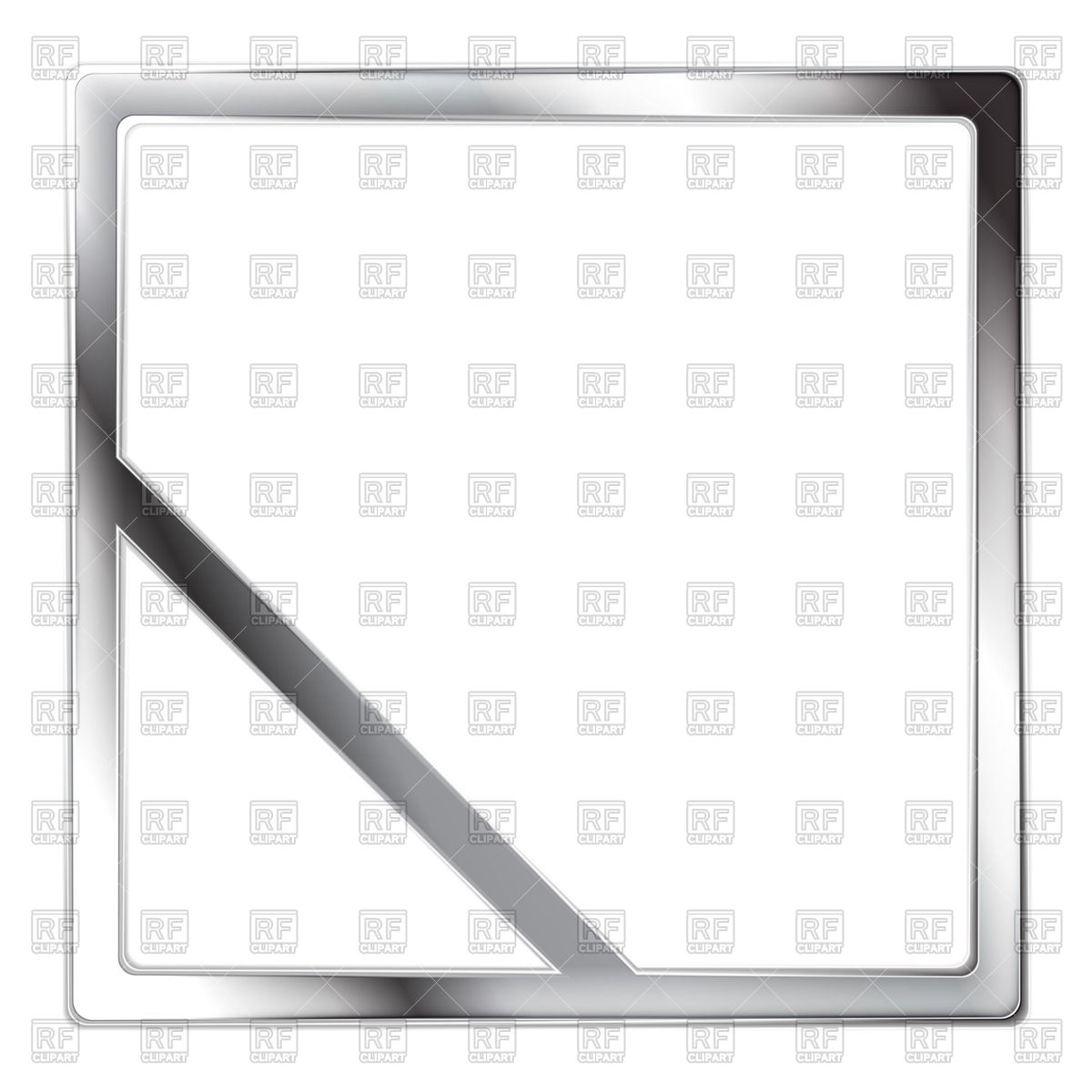 1200x1200 Metallic Square Silver Frame With Diagonal Line In Corner Vector