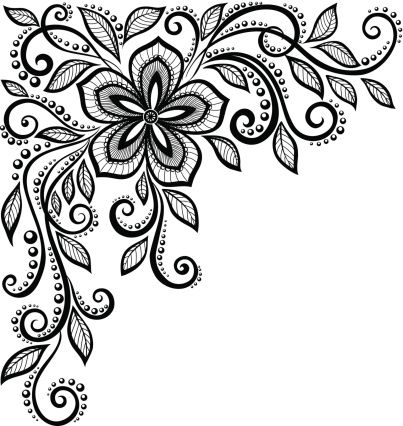 403x426 Beautiful Black And White Lace Flower In The Corner. Vector Art