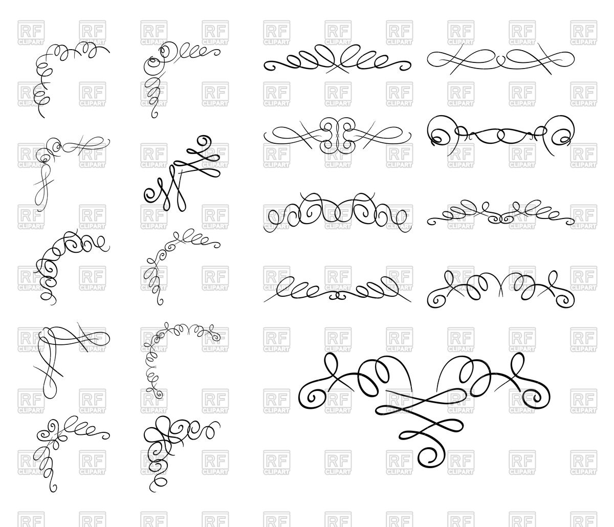 1200x1030 Curly Borders And Corners Vector Image Vector Artwork Of Borders
