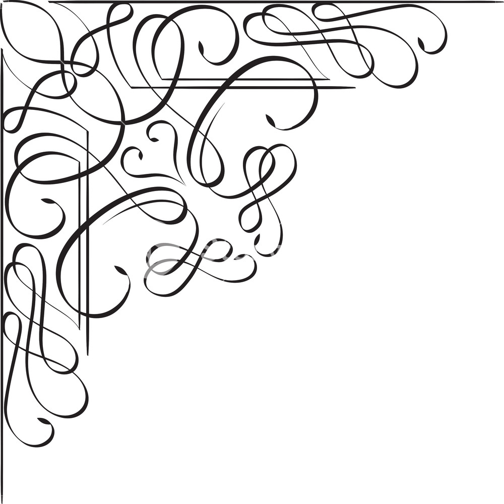 1000x1000 Floral Corner Vector Element Royalty Free Stock Image