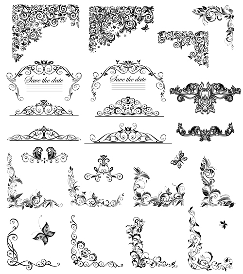500x562 Floral Ornaments Border And Corner Vector Free Download