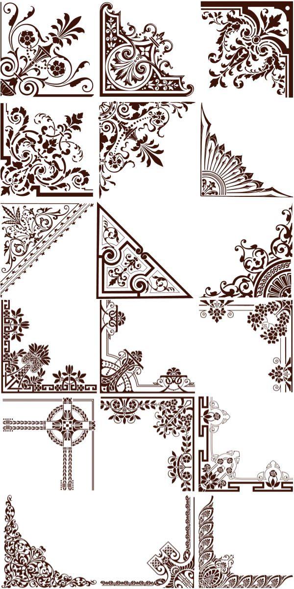 600x1200 Natural Ornament Corners Vector Drawings In 2018