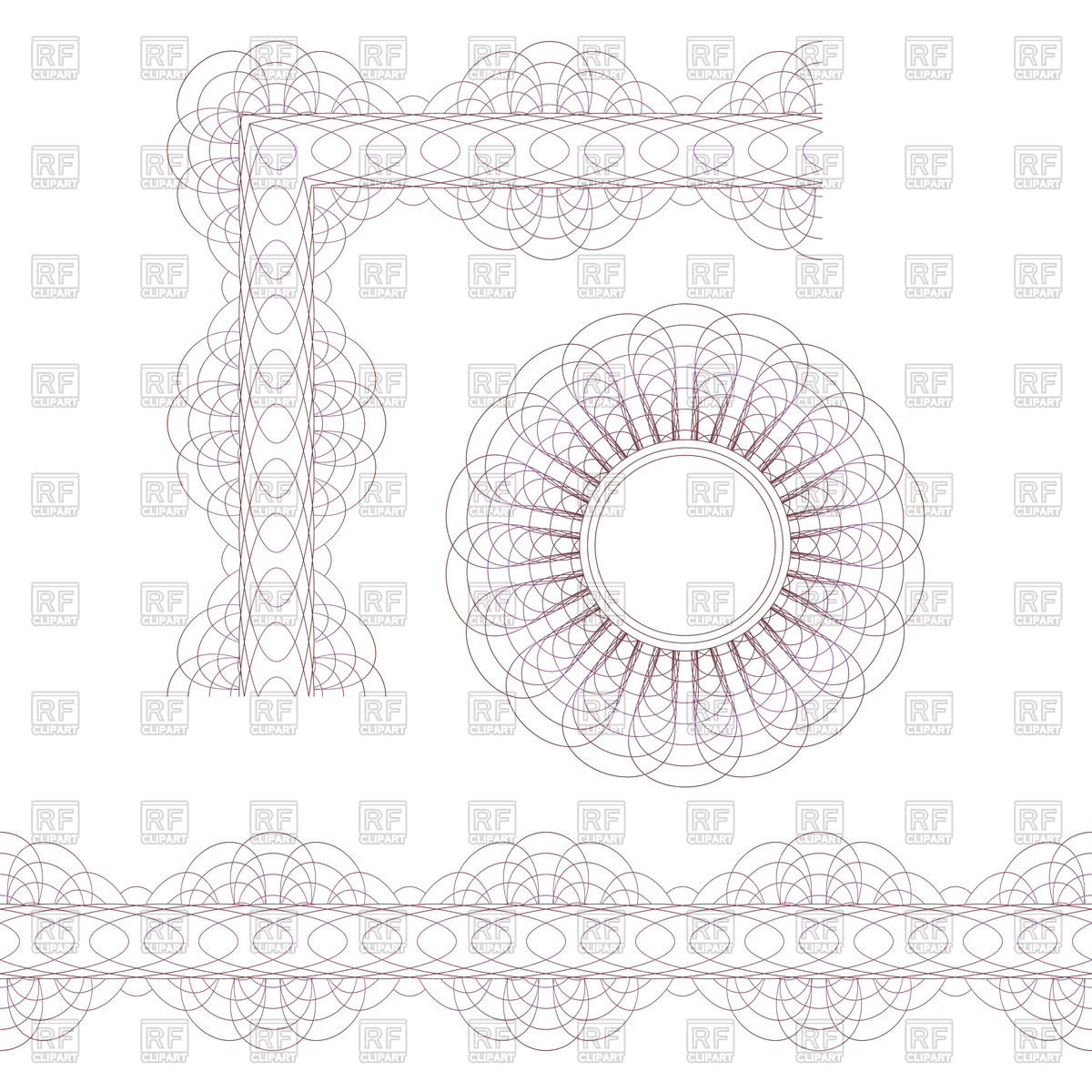 1200x1200 Round Decorative Elements In Guilloche Style
