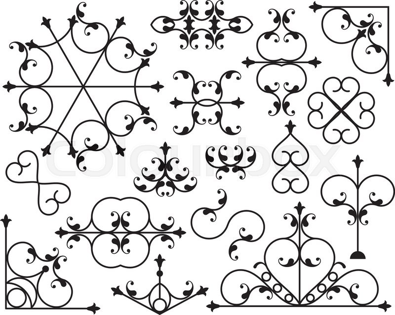 800x638 Wrought Iron Corner, Border Design Elements Vector Art, Roth Iron