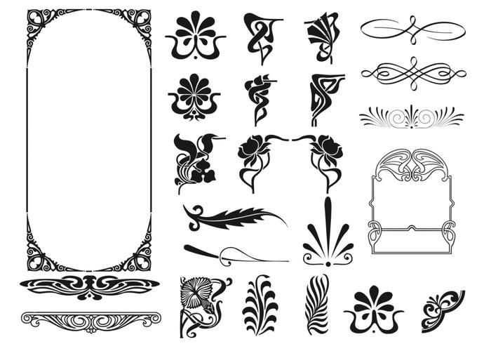 700x490 Art Deco Frame And Corner Vector Pack