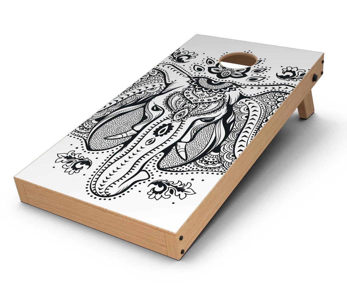 1200x1028 Vector Sacred Elephant Cornhole Board Skin Decal Kit