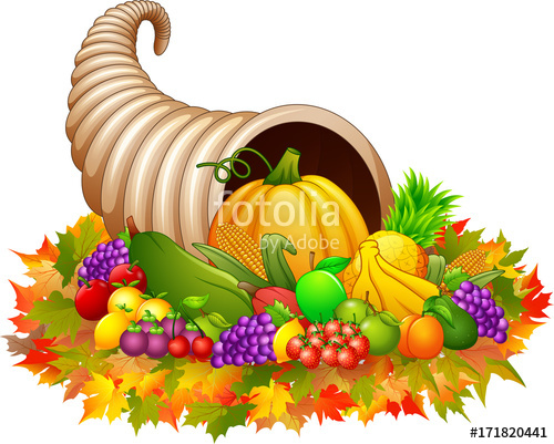 500x401 Horn Of Plenty Cornucopia With Vegetables And Fruits Stock Image