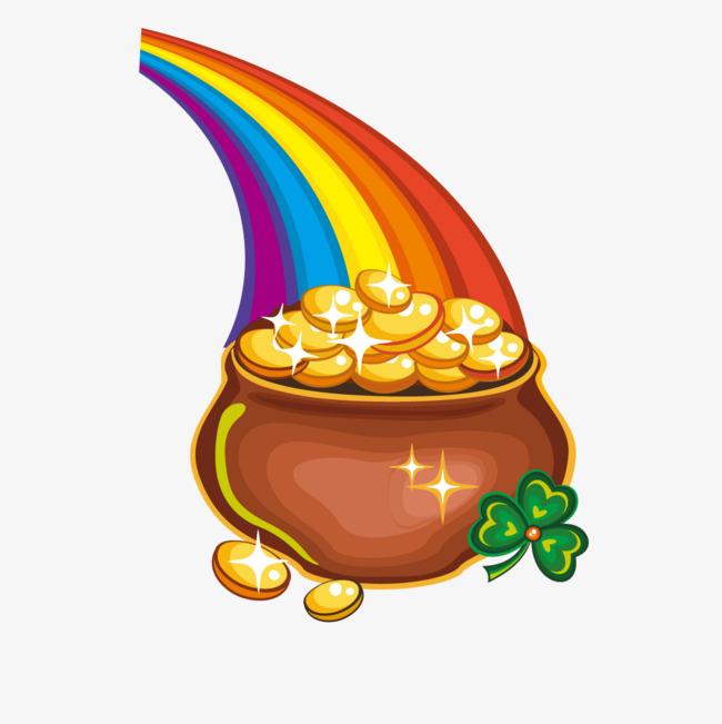 650x651 Rainbow Cornucopia Gold, Rainbow Vector, Gold Vector, Vector Png