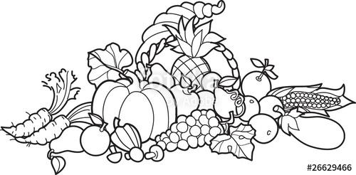 500x246 Back And White Cornucopia Illustration Stock Image And Royalty
