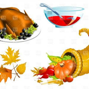 300x300 Thanksgiving Roasted Turkey And Cornucopia Vector Clipart Arenawp