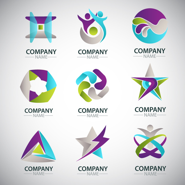 600x600 Corporate Logo Sets Design With Various Shapes Free Vector In