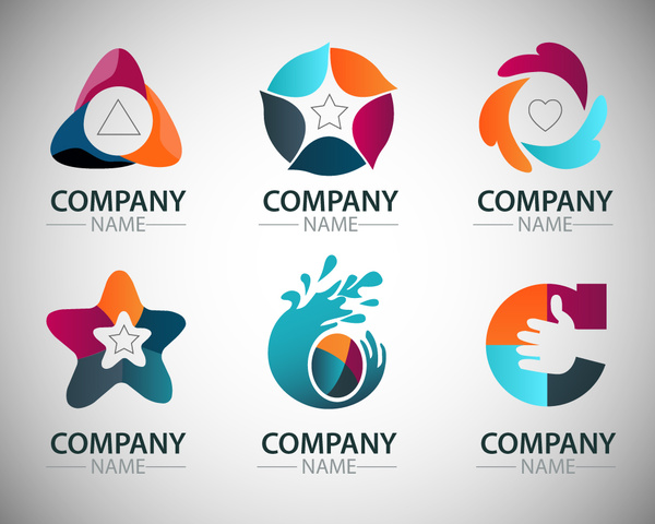 600x480 Corporate Logo Sets With Artistic Shapes Illustration Free Vector