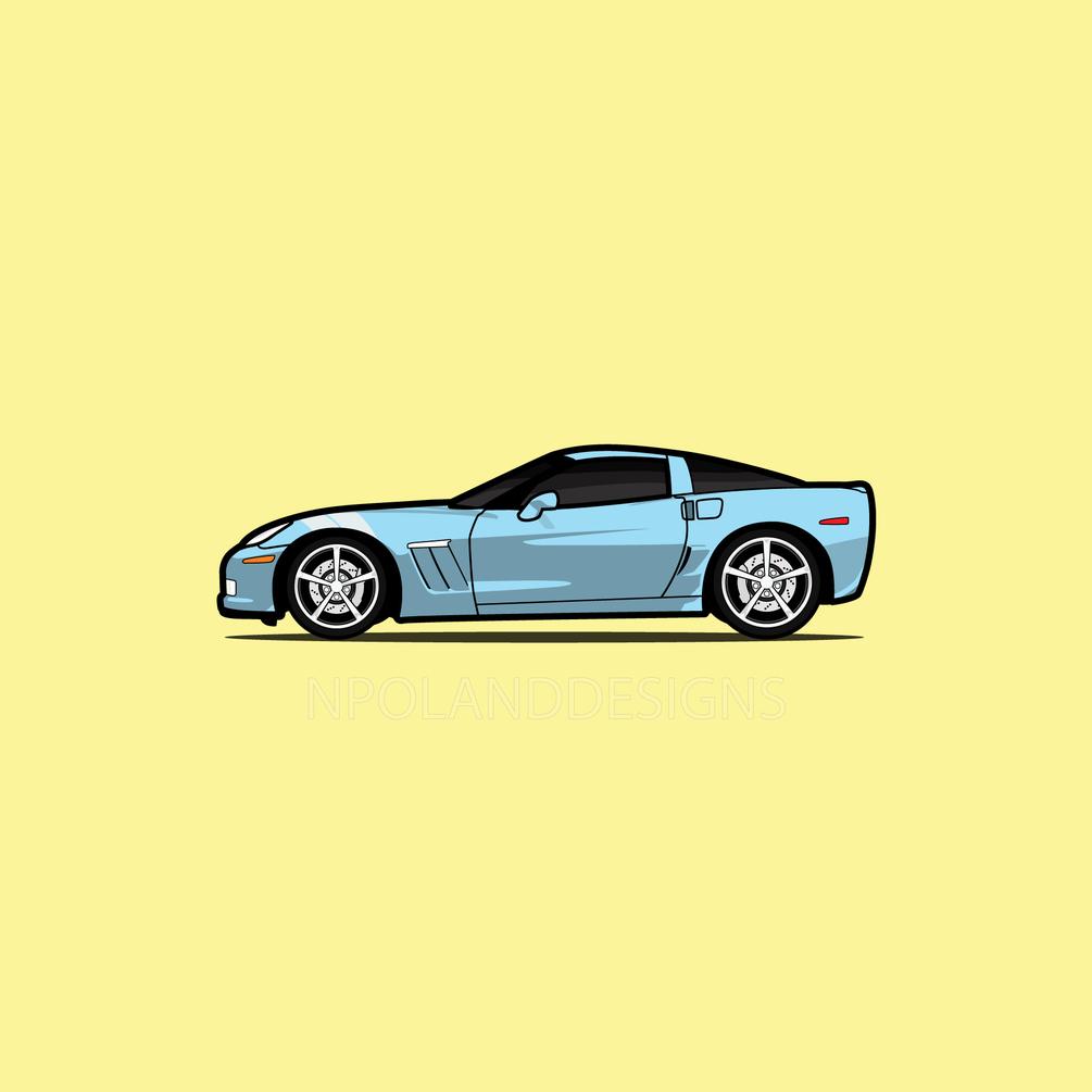 1005x1005 Blue Corvette Grand Sport Vector Art