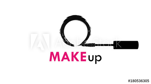 500x278 Makeup Logo With Black Brush Of Mascara And Textured Circle Stroke