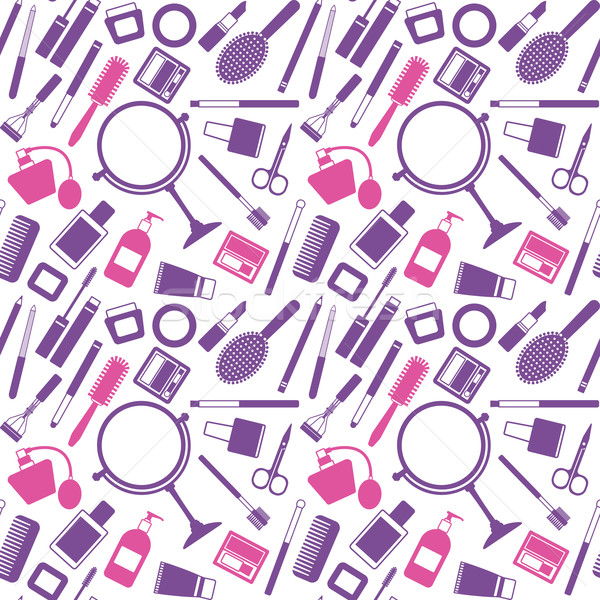 600x600 Vector Seamless Pattern Background With Various Cosmetic Objects