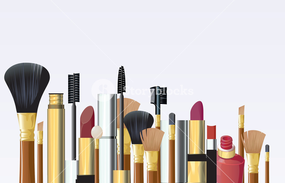 1000x644 Cosmetic Tools. Vector. Royalty Free Stock Image