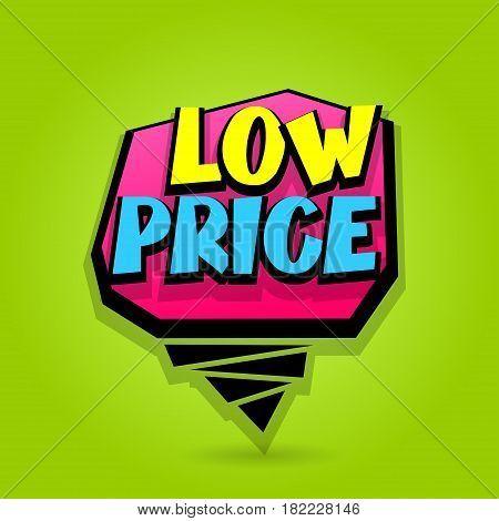 450x470 Low Price Sale Advertising Web Label Badge. Comic Text Speech