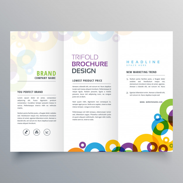 626x626 Tri Fold Brochure Design Cost Colorful Circles Business Tri Fold