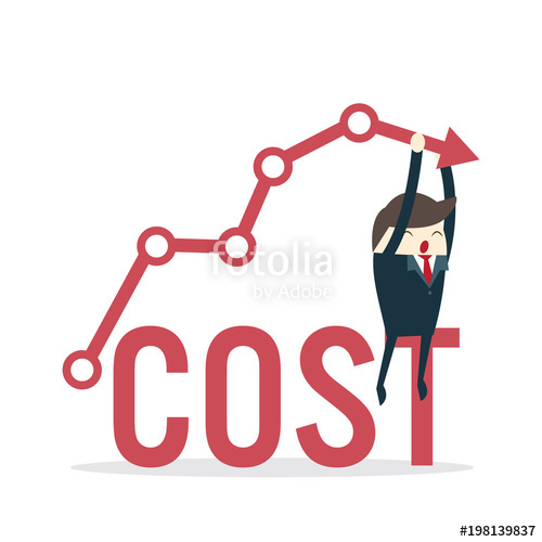 500x500 Cost Reduction Concept. Cost Down. Businessman With His Hand