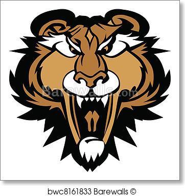 362x382 Art Print Of Cougar Panther Mascot Head Vector G Barewalls