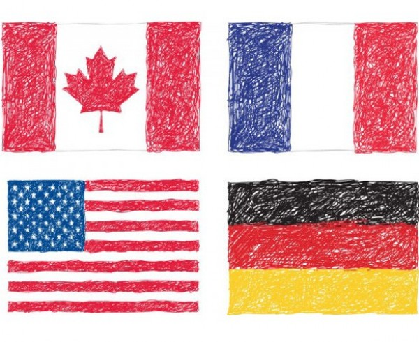 600x490 4 Scribble Drawing Country Flags Vector Set