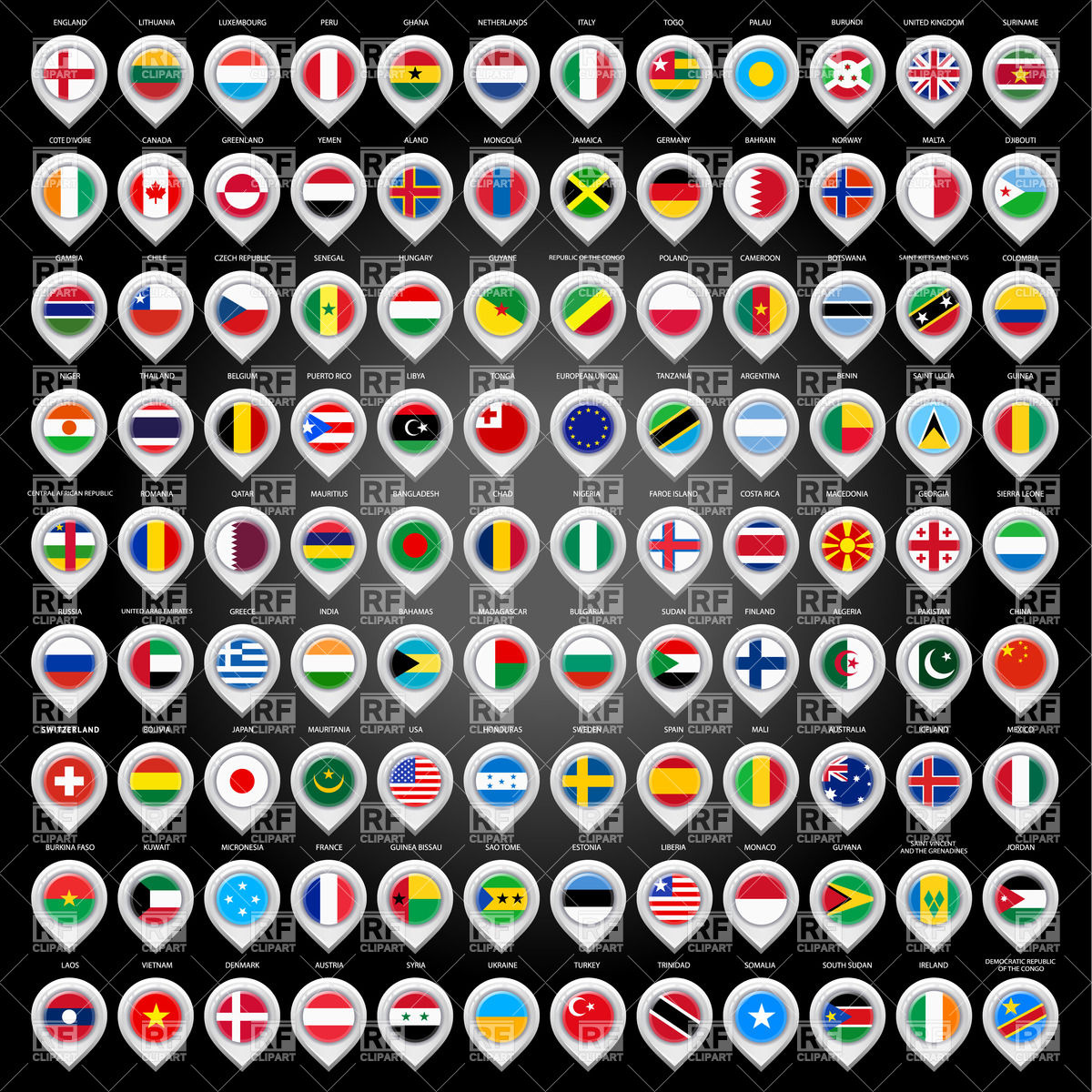1200x1200 Country Flag Markers Vector Image Vector Artwork Of Signs