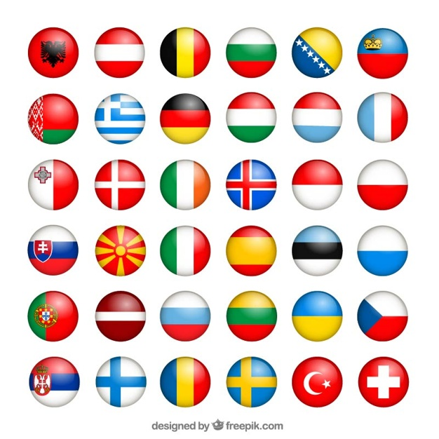 626x626 European Flags Collection Vector Free Download