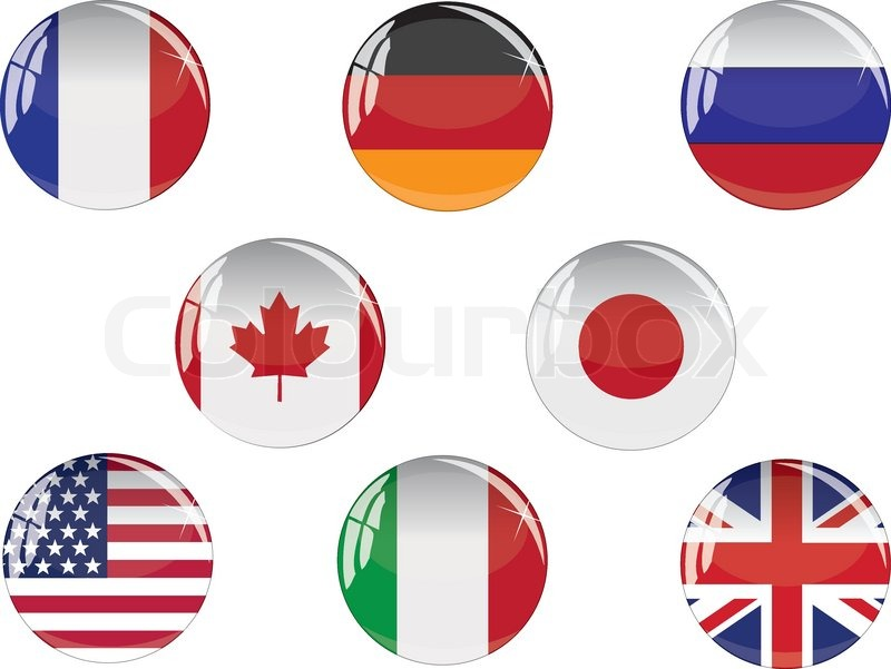 800x601 Glass Buttons With G8 Countries Flags Stock Vector Colourbox