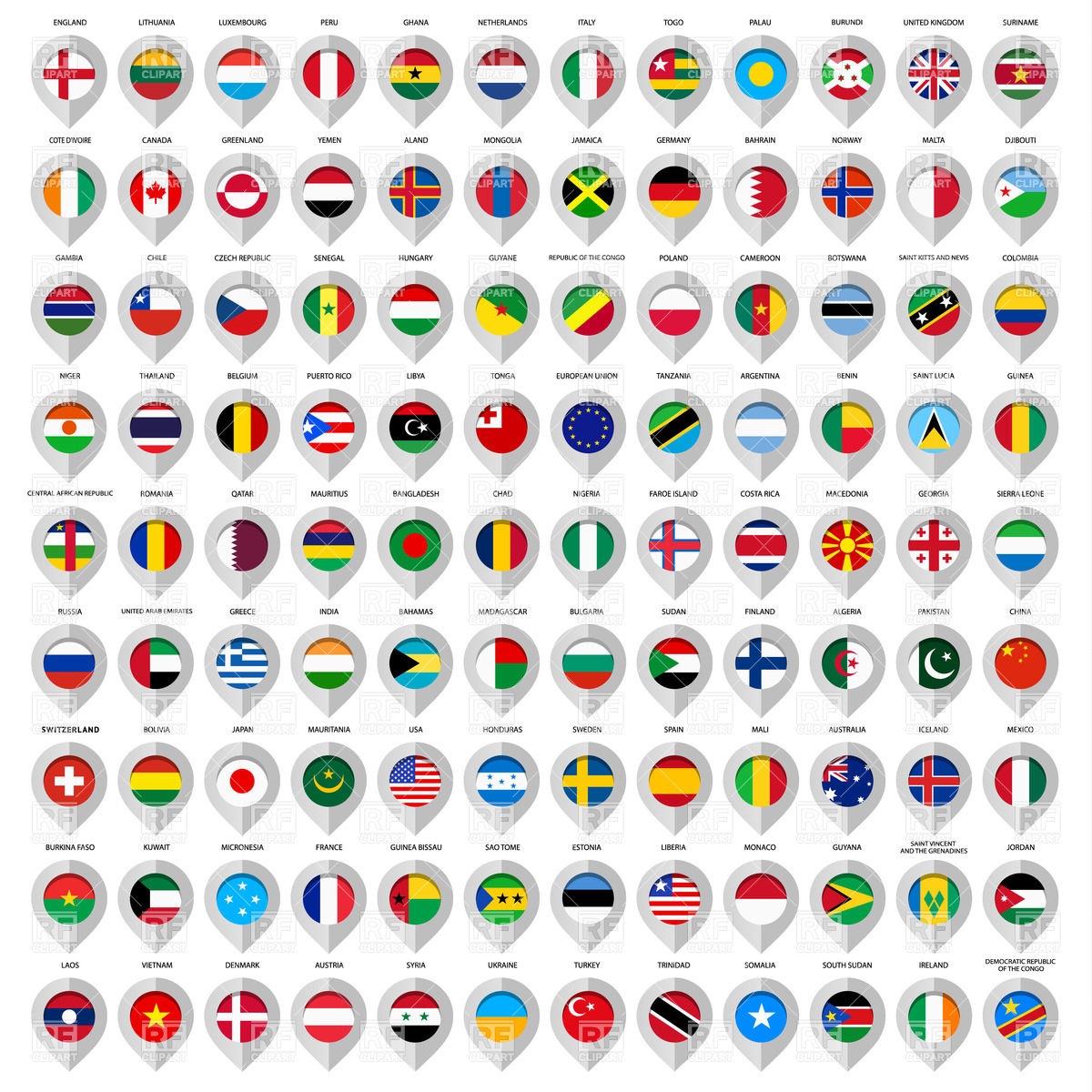 1200x1200 Shiny Markers With Country Flags Vector Image Vector Artwork Of