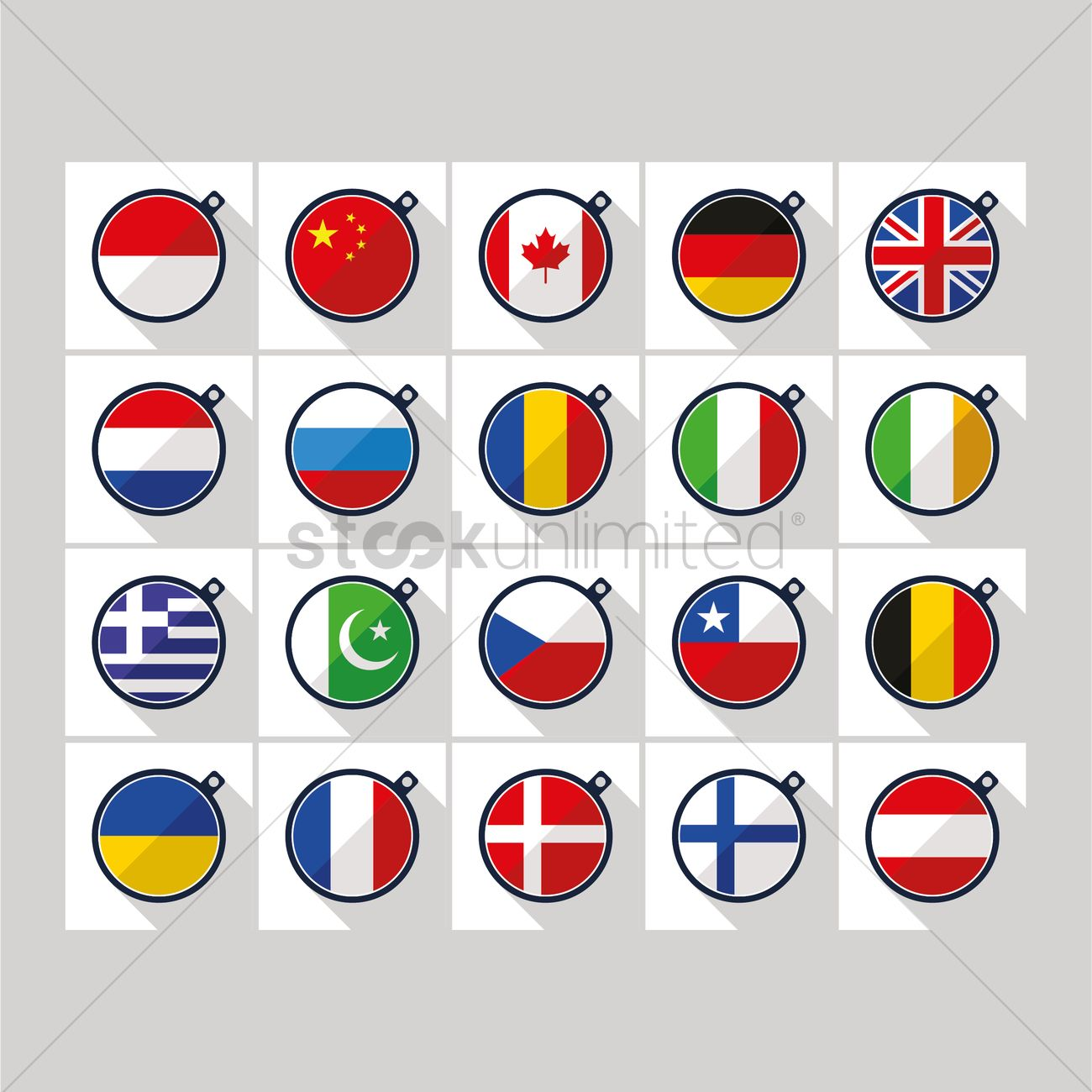 1300x1300 Collection Of Country Flags Vector Image