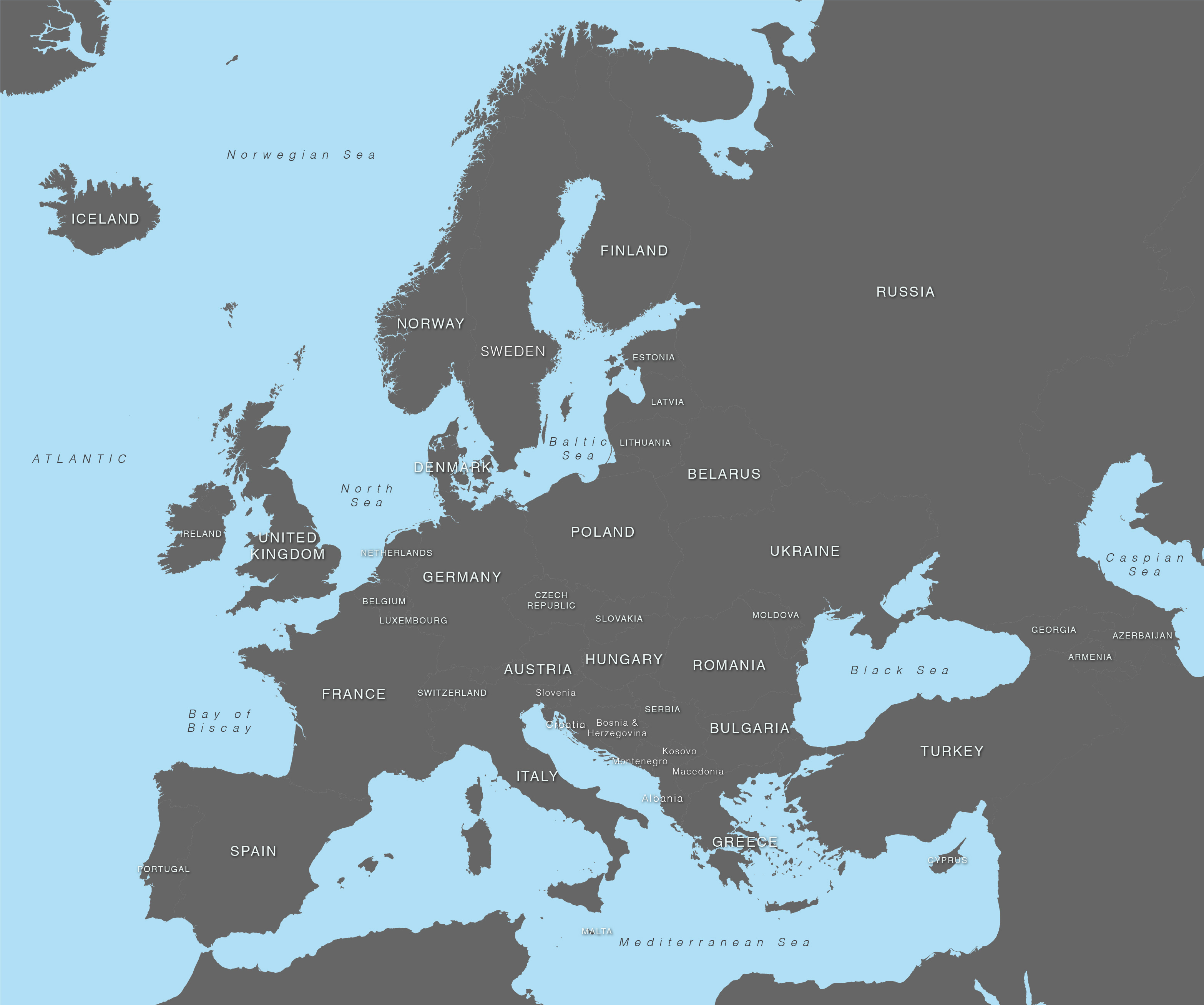 3133x2616 Vector Map Of Europe With Countries