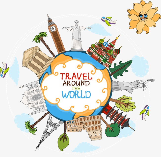 650x636 World Travel Attraction Countries, World Vector, Travel Vector