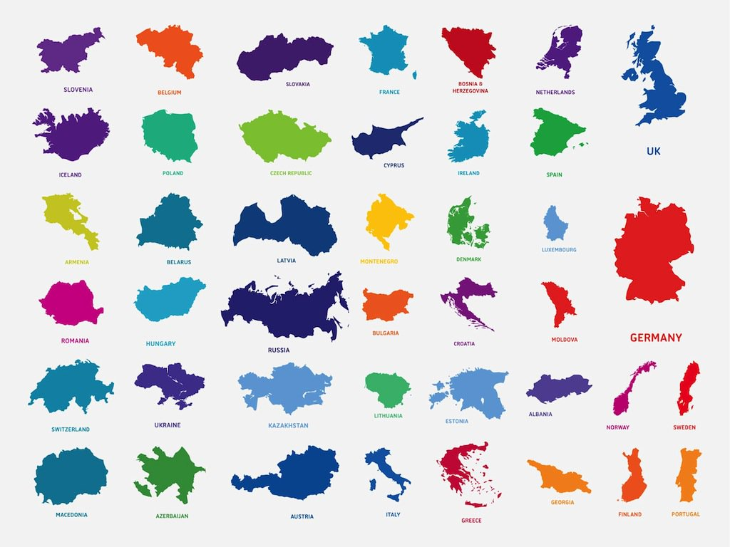 1024x768 Countries In Europe Vector Art Amp Graphics