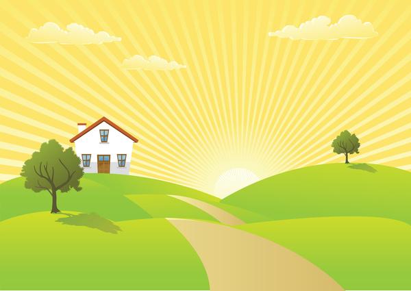 600x425 Sunrise In Country Landscape Free Vector In Adobe Illustrator Ai