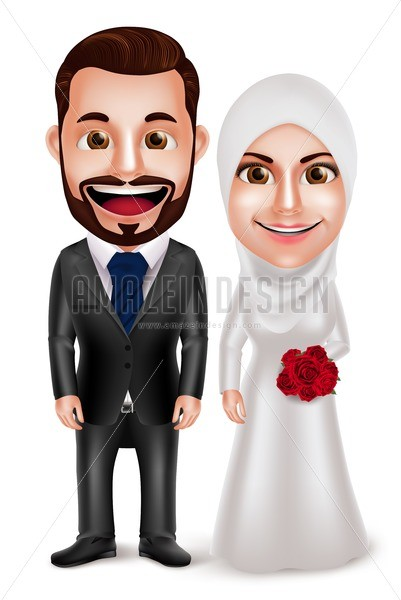 401x600 Muslim Couple Vector Characters For Wedding