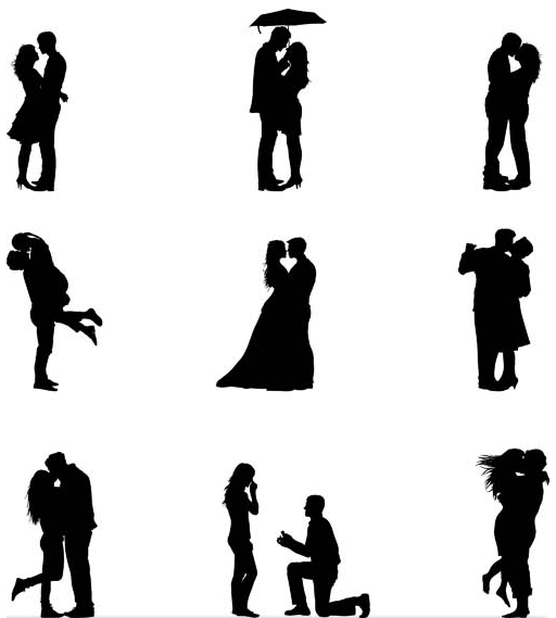 512x569 Silhouettes Of Love Couples Vector Ai Format Free Vector