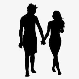 261x261 Couple Silhouette, Couple Vector, Silhouette Vector, Lovers Png
