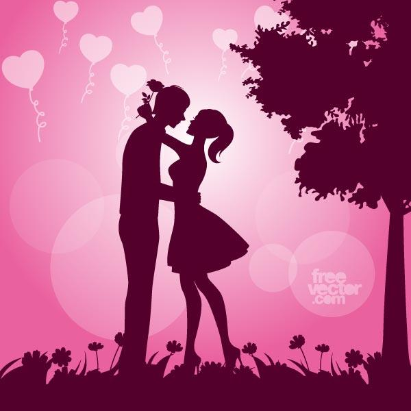600x600 Couple In Love Silhouette Vector Image 123freevectors
