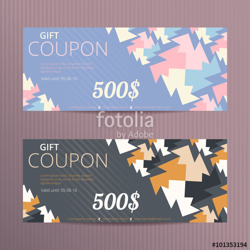 500x500 Gift Voucher With Elegant Design. Gift Card Template. Coupon