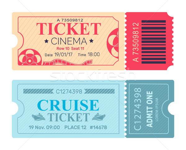 600x485 Cinema Ticket Cruise Coupon Vector Illustrations Vector